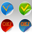 Sign symbol icon ok button shadow web yes choose p vector image