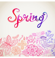 watercolor floral greeting card with Spring vector image