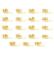 isolated golden color numbers icons collection on vector image vector image