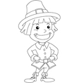 Settler Boy For Thanksgiving Coloring Page vector image vector image