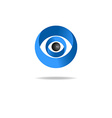 3D abstract human eye logo media blue icon vector image
