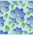 Seamless pattern with 3d blue flowers and leaves vector image