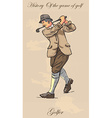 Vintage golf and golfers - freehand into vector image