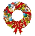 Christmas wreath Doodle winter circle pattern vector image