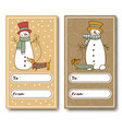 christmas greeting cards with a funny snowman vector image