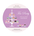 Invitation card with cupcakes stand vector image