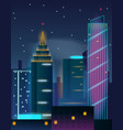 night city skyscrapers buildings in neon lights vector image