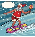 Modern Santa Claus rides on a snowboard vector image
