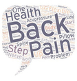 Steps To Relieve Back Pain text background vector image