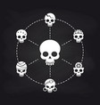 white skull icons concept on chalkboard vector image vector image