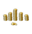 set of shiny gold coins in tall and short stakcs vector image