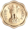 indian rupee gold coin vector image
