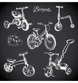 chalk board set with hand drawn bicycles and vector image