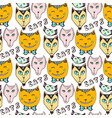 doodle cats pattern hand drawn colorful seamless vector image