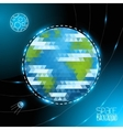 Geometric triangle Earth globe and doodle moon vector image