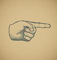 Hand draw sketch vintage index finger vector image