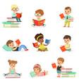 kids reading books and enjoying literature vector image