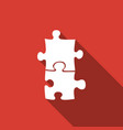 piece of puzzle icon isolated with long shadow vector image