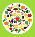 set of colored vegetable icons circle with tomato vector image