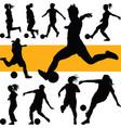 soccer women silhouette girl play soccer vector image