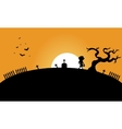 Zombie and bat halloween backgrounds silhouette vector image
