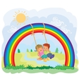 Carefree young children swinging on the rainbow vector image