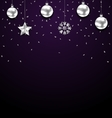 Christmas Dark Background with Silver Baubles vector image vector image