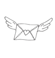 Flying envelope with wings and heart vector image vector image