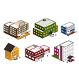 isometric building collection vector image