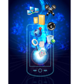 multimedia phone and icons vector image