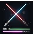 Red blue green and purple light swords vector image