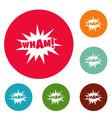 comic boom wham icons circle set vector image