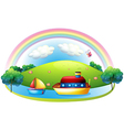 Ships near an island with a rainbow vector image