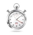 Silver bright stopwatch clock isolated on white vector image
