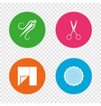 textile cloth piece icon scissors hairdresser vector image