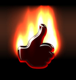 Burning like hand gesture in flames vector