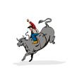 Rodeo Cowboy Bull Riding Retro vector image