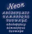 neon alphabet script font glowing letters set vector image