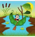 ladybug floats on peas on river vector image vector image