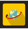 Airplane flying around earth icon flat style vector image