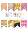 cute cartoon happy birthday holiday flags with cat vector image