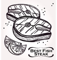Fish Steak meat and lemon vector image