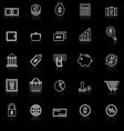 Money line icons with reflect on black vector image