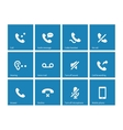 Phones related icons on blue background vector image