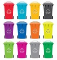 Recycling wheelie bin icons vector image