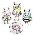 set of funny owls doodle owls birds set vector image