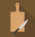 Wooden Chopping Board and knife vector image