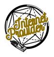 Color vintage internet provider emblem vector image