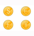 four coins symbol vector image vector image