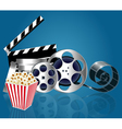 background with popcorn and film strip vector image vector image